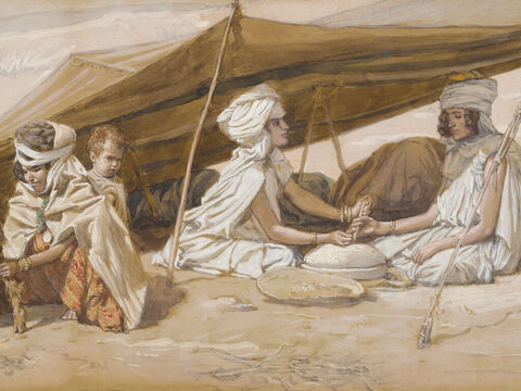 Rachel and Leah. <br/>(Cropped). <br/>James Tissot (1836-1902) – The Jewish Museum, New York. – Slide 14