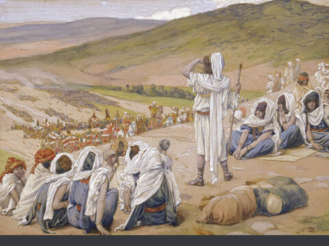 Jacob sees Esau coming to meet him.  <br/>(Full size). <br/>James Tissot (1836-1902) – The Jewish Museum, New York. – Slide 15