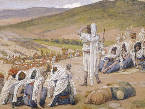 Jacob sees Esau coming to meet him.  <br/>(Cropped). <br/>James Tissot (1836-1902) – The Jewish Museum, New York. – Slide 16