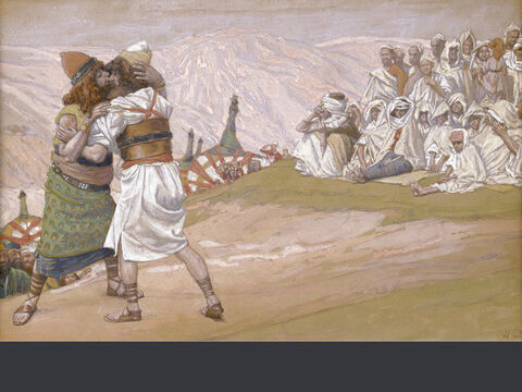 Meeting of Esau and Jacob.  <br/>(Full size).<br/>James Tissot (1836-1902) – The Jewish Museum, New York. – Slide 17