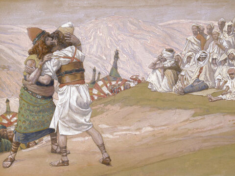 Meeting of Esau and Jacob.  <br/>(Cropped). <br/>James Tissot (1836-1902) – The Jewish Museum, New York. – Slide 18