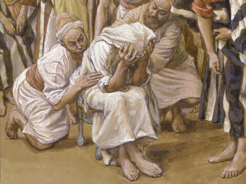 Jacob mourns his son Joseph.  <br/>(Cropped). <br/>James Tissot (1836-1902) – The Jewish Museum, New York. – Slide 22