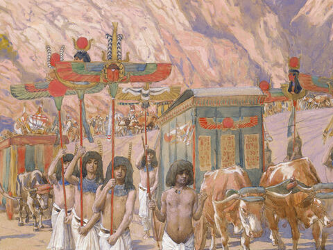 Jacob's body taken to Egypt. <br/>(Cropped). <br/>James Tissot (1836-1902) – The Jewish Museum, New York. – Slide 24