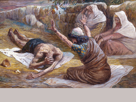 Job lying on the heap of refuse. <br/>(Full size) <br/>James Tissot (1836-1902) – The Jewish Museum, New York. – Slide 5
