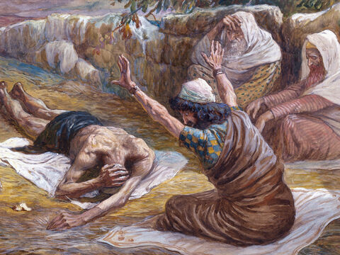 Job lying on the heap of refuse. <br/>(Cropped) <br/>James Tissot (1836-1902) – The Jewish Museum, New York. – Slide 6