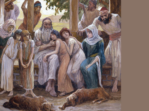Job joins his family in happiness. <br/>(Full size) <br/>James Tissot (1836-1902) – The Jewish Museum, New York. – Slide 9