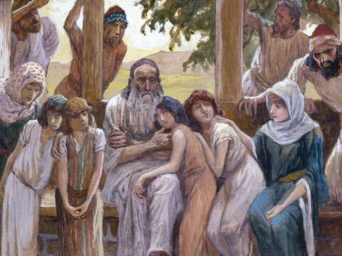 Job joins his family in happiness. <br/>(Cropped) <br/>James Tissot (1836-1902) – The Jewish Museum, New York. – Slide 10