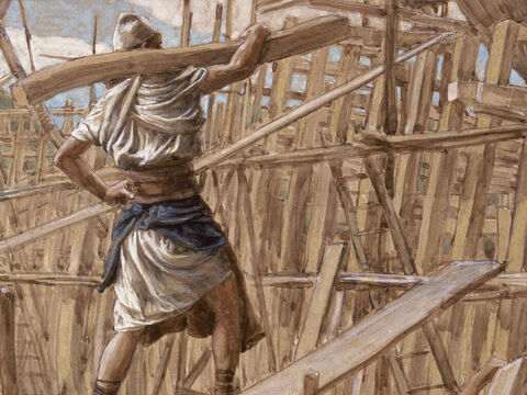 Building the Ark. <br/>(Full painting). <br/>James Tissot (1836-1902). <br/>The Jewish Museum, New York. – Slide 9