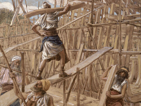 Building the Ark.  <br/>(Cropped). <br/>James Tissot (1836-1902). <br/>The Jewish Museum, New York. – Slide 10