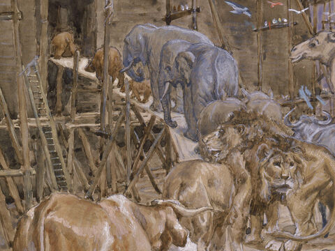 The animals enter the Ark. <br/>(Cropped).<br/>James Tissot (1836-1902). <br/>The Jewish Museum, New York. – Slide 12