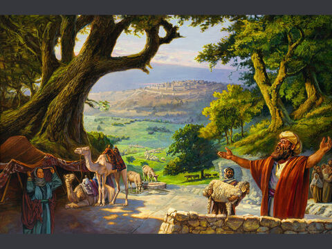 Abram's altar at Hebron. <br/>'So Abram went to live near the great trees of Mamre at Hebron, where he pitched his tents. There he built an altar to the Lord'. <br/>Genesis 13:18 <br/>Full text: Genesis 13:1-18 – Slide 1