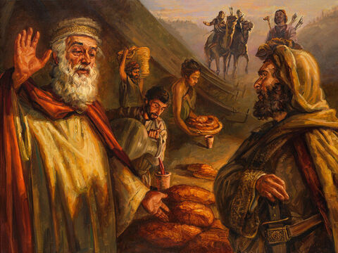 Melchizedek blesses Abram. <br/>Then Melchizedek, king of Salem, brought out bread and wine. He was priest of God Most High, and he blessed Abram, saying, Blessed be Abram by God Most High, Creator of heaven and earth. <br/>Genesis 14:18-19 <br/>Full text: Genesis 14:17-20 – Slide 2