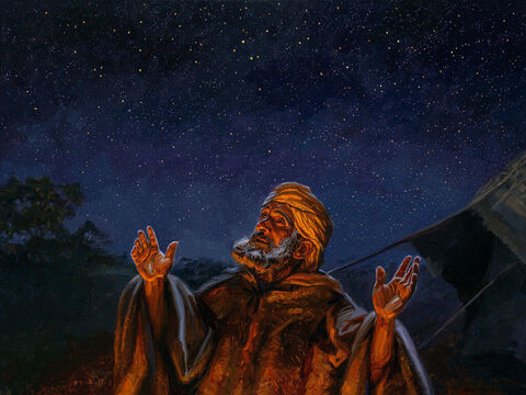 """Offspring promised to Abram. <br/>He took him outside and said, """"Look up at the sky and count the stars—if indeed you can count them."""" Then he said to him, """"So shall your offspring be."""" Abram believed the LORD, and he credited it to him as righteousness. <br/>Genesis 15:5-6 <br/>Full text: Genesis 15:1-6 – Slide 3"""