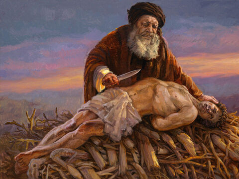 """Abraham sacrifices Isaac. Then he reached out his hand and took the knife to slay his son. But the angel of the LORD called out to him from heaven, """"Abraham! Abraham!"""" """"Here I am,"""" he replied. <br/>Genesis 22:10-11 <br/>Full text: Genesis 22:1-14 – Slide 5"""