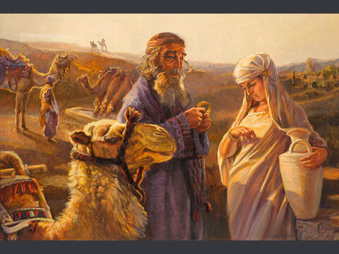 Eliezer and Rebecca. <br/>And it came to pass, as the camels had done drinking, that the man took a golden earring of half a shekel weight, and two bracelets for her hands of ten shekels weight of gold. <br/>Genesis 24:22 <br/>Full text: Genesis 24:1-66 – Slide 7