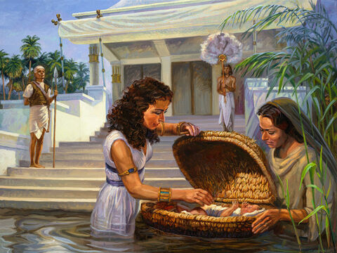 """The birth of Moses. <br/>Then Pharaoh's daughter went down to the Nile to bathe, and her attendants were walking along the riverbank. She saw the basket among the reeds and sent her female slave to get it. She opened it and saw the baby. He was crying, and she felt sorry for him. """"This is one of the Hebrew babies,"""" she said. <br/>Exodus 2:5-6 <br/>Full text: Exodus 2:1-10 – Slide 1"""