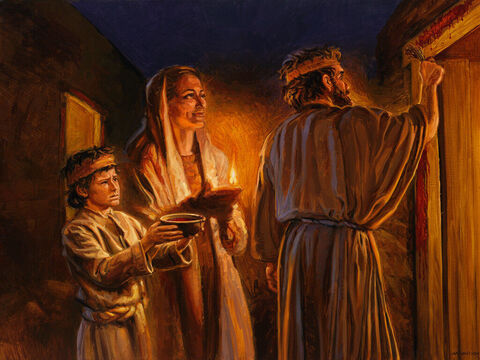 The Passover. <br/>For the LORD will pass through to strike the Egyptians, and when he sees the blood on the lintel and on the two doorposts, the LORD will pass over the door and will not allow the destroyer to enter your houses to strike you. <br/>Exodus 12: 23 <br/>Full text: Exodus 12:21-23 – Slide 4