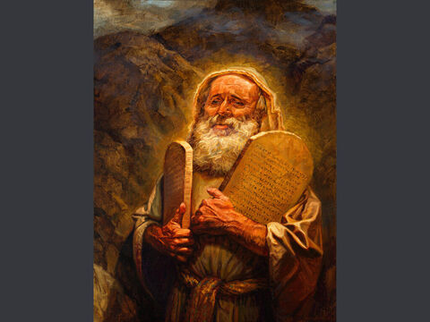 The Covenant renewal. <br/>When Moses came down from Mount Sinai, with the two tablets of the testimony in his hand, he did not know that the skin of his face shone because he had been talking with God. <br/>Exodus 34:29 <br/>Full text: Exodus 34:5-10 – Slide 7