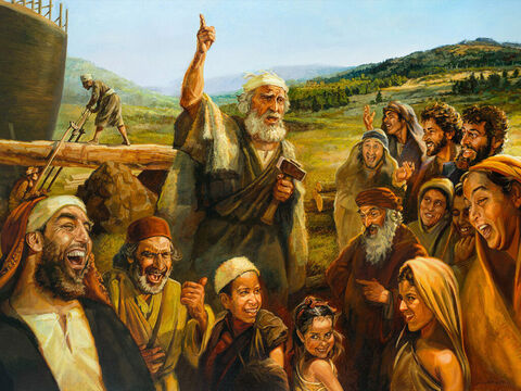 Noah warns the people. <br/>The LORD saw how great the wickedness of the human race had become on the earth, and that every inclination of the thoughts of the human heart was only evil all the time. <br/>Genesis 6:5 <br/>Full text: Genesis 6:1-22, 2 Peter 2:5-9 – Slide 1