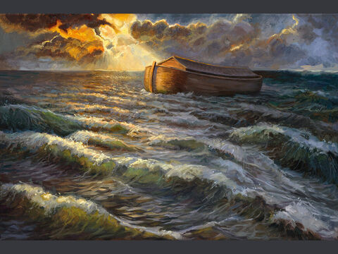 The Ark on the waters. <br/>The waters flooded the earth for a hundred and fifty days. <br/>Genesis 7:24 <br/>Full text: Genesis 17-24, 1 Peter 3:20-21 – Slide 3