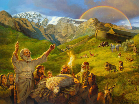 Noah's offering. <br/>Then Noah built an altar to the LORD and, taking some of all the clean animals and clean birds, he sacrificed burnt offerings on it.  <br/>Genesis 8:20 <br/>Full text: Genesis 8:20-9:17 – Slide 5