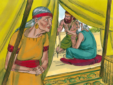 Now Rebekah was listening as Isaac spoke to Esau. When Esau had gone, she told Jacob to get two choice young goats, so that she could prepare some tasty food for Isaac. The plan was for Jacob to take it to his father so that he and not Esau would get his father's blessing before he died. – Slide 3