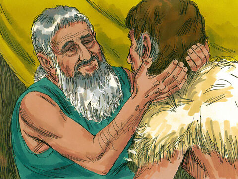 'Come near so I can touch you, and know are my son Esau,' Isaac asked. Jacob did so. Isaac said, 'The voice is the voice of Jacob, but the hands are the hands of Esau.' – Slide 6