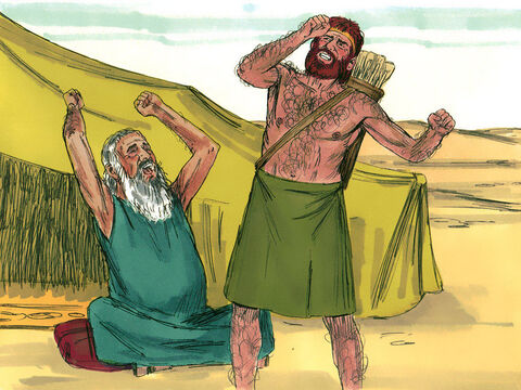 Jacob had scarcely left his father's presence, when his brother Esau came in from hunting and prepared a meal.<br/>'Who are you?' asked Isaac. <br/>'I am your firstborn, Esau,' was the reply. <br/>Isaac trembled violently and said, 'Who was it, then, that hunted game and brought it to me? I ate it just before you came and I blessed him – and indeed he will be blessed!' – Slide 8