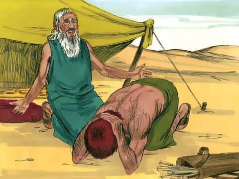 'I have made Jacob lord over you,' Isaac explained. 'And I have made all his relatives his servants. I have sustained him with grain and new wine. So what can I possibly do for you, my son?' <br/>'Do you have only one blessing' Esau wept. 'Bless me too, my father!' <br/>Isaac answered, 'You will live by the sword and serve your brother. But when you grow restless, you will throw his yoke from off your neck.' – Slide 10
