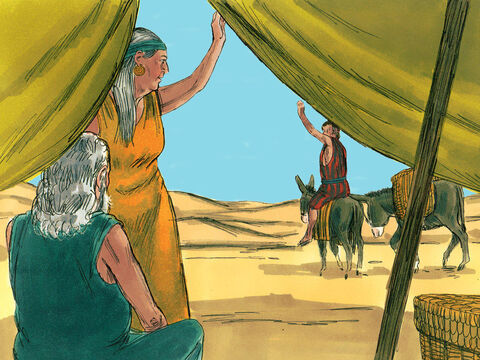 'Your brother Esau is planning to kill you,' Rebekah warned Jacob.  'Flee at once to my brother Laban in Padan-aram. Stay with him until your brother's fury subsides.' <br/>So Jacob set off at once. – Slide 12
