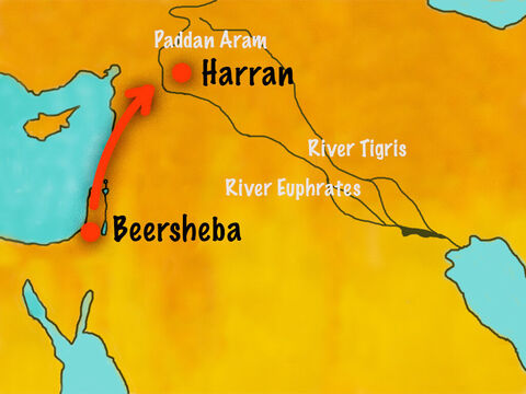 So Jacob set off on the long journey north to Harran where Laban and his family lived. – Slide 2
