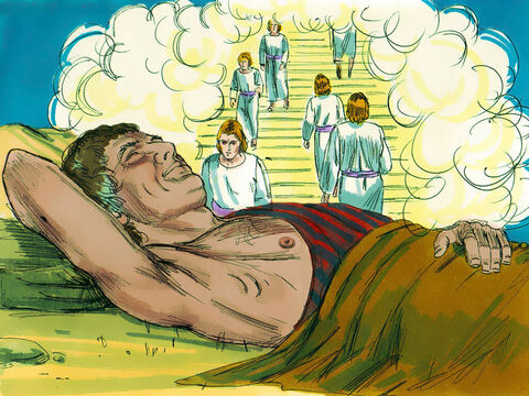 He had a dream in which he saw a stairway resting on the earth, with its top reaching to heaven, and the angels of God were climbing up and down it. There above itstood the Lord. – Slide 4