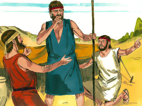 The messengers returned to report, 'Esau is coming to meet you, and four hundred men are with him.' Jacob was very frightened. – Slide 3