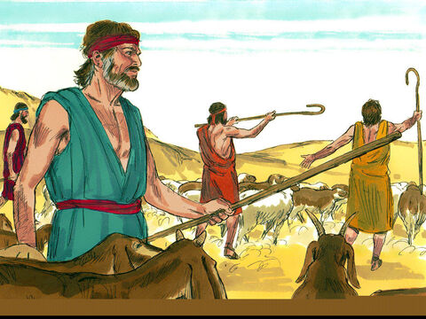 Jacob chose a gift for Esau: two hundred female goats and twenty male goats, two hundred ewes and twenty rams, thirty female camels with their young, forty cows and ten bulls, and twenty female donkeys and ten male donkeys. He put each herd in charge of a servant and set them off at intervals. – Slide 6