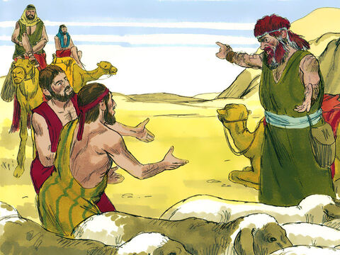 When the servants met Esau they reported who they were and who had sent them. 'These are a gift sent to my Lord Esau from Jacob who is following behind us.' – Slide 7