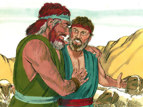 Esau ran to meet Jacob and embraced him; he threw his arms around his neck and kissed him. And they wept. The servants, wives and children of Jacob were introduced. 'These are the children God has graciously given your servant,' Jacob told his brother. – Slide 13