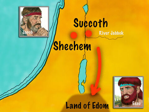 Jacob, however, went to Succoth, where he built a place for himself and made shelters for his livestock. From there he moved on to Shechem where he set up an altar to God. – Slide 15