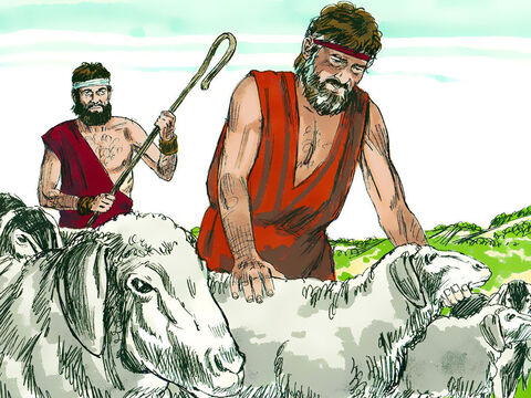 Jacob replied, 'I will stay and work for you if you let me go through your flocks and remove all the speckled or spotted sheep and goats, plus every dark-coloured lamb. They will be my wages.' Laban agreed. – Slide 3