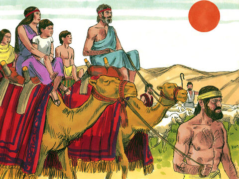 Then the Lord said to Jacob, 'Go back to the land of your fathers and I will be with you.' Rachel and Leah agreed to go to Canaan with Jacob. They got on their camels and took their herds with them. But they did not tell Laban they were leaving. Before they left, Rachel stole her father Laban's household gods. – Slide 7