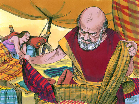 Laban began searching the tents and found nothing. Rachel had hidden the gods in her camel's saddle bag which was in her tent. She sat on the saddle bag refusing to get up as her father searched her tent. Laban did not find his gods. – Slide 12