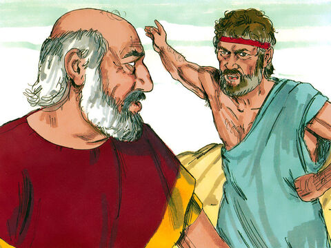 Jacob became angry, 'Have you found the stolen gods? I have worked hard for you and treated you fairly. God has seen my hardship and in the dream you had He rebuked you.' – Slide 13