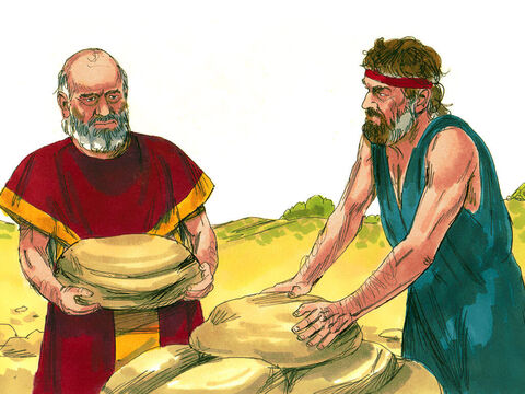 Laban replied, 'All you see is mine but what can I do? Let's make an agreement between ourselves.' The two men gathered stones and piled them into a heap. Then they ate together. – Slide 14