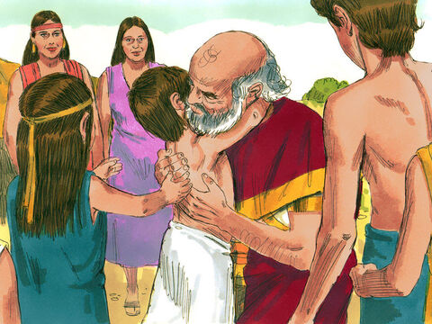 Laban promised not to go past the heap of stones to hurt Jacob and Jacob promised not to go past the heap to hurt Laban. They took an oath in the name of God and offered a sacrifice. The next morning, Laban kissed his daughters and grandchildren goodbye and then returned home. – Slide 15