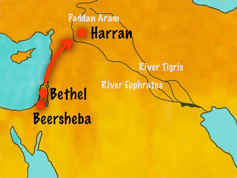 Jacob was fleeing from his brother Esau and on his way to stay with his mother's brother, Laban, in Harran. He was also hoping to find a wife. At Bethel, God told him in a dream that He was with him and everyone would be blessed through him and his descendants. – Slide 1