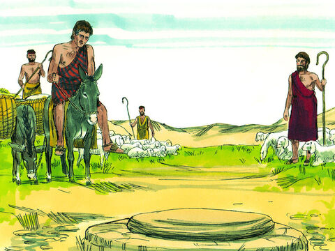 As Jacob came close to Harran he saw a well covered by a large stone and three flocks of sheep grazing nearby. – Slide 2