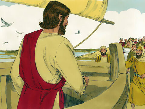 Jesus had visited the other side of Lake Galilee and a large crowd waited in Capernaum for Him to return. – Slide 2