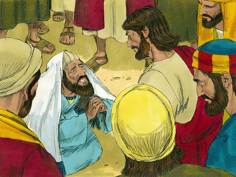 Jairus came and fell at Jesus' feet, pleading with Him to come to his house as his daughter was dying. – Slide 3
