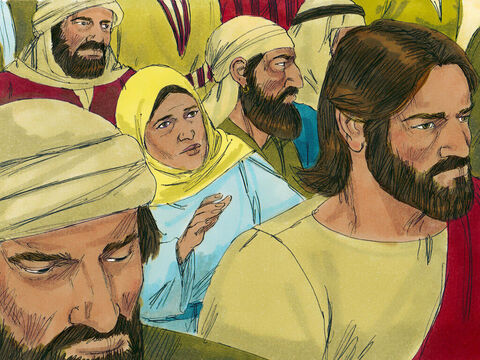 Hoping to go unnoticed, she crept up behind Jesus. 'If I just touch the hem of His garment, I will be healed,'she thought. – Slide 6
