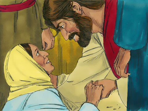 The woman came trembling and fell at His feet. She confessed in front of everyone that she had touched Him and had been instantly healed.Jesus replied, 'Daughter, your faith has healed you. Go in peace.' – Slide 9