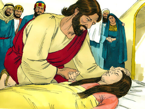 Jesus took the girl by the hand and said,'My child, get up!' – Slide 13